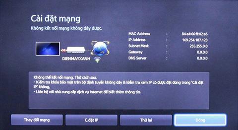 Tivi Samsung không nhận Internet Wifi